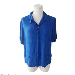Vintage Donna Ricco Blue button up Blouse A2